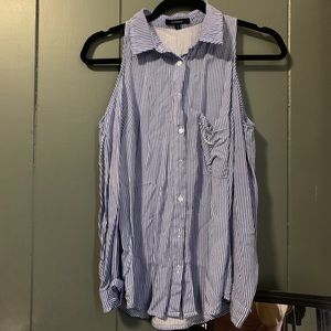 Cut out shoulder button down